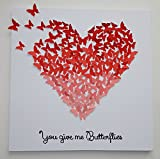3D Butterflies - Ombre Heart Art, Hand-made with Quote! Customizable! 20 X 20