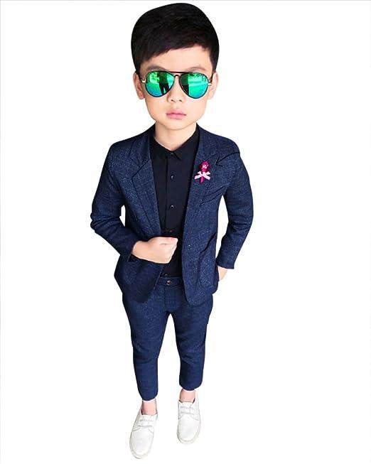 04da381cac08 DianShao Bambini Bambino Elegante Formale 2 Pezzi Abiti Cerimonia Set  Blazer + Pantaloni Blu Grigio 100