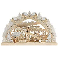 Clever Creations Traditional Wooden Table Top Christmas Decorations | Unique Skiing Hill with Battery Operated Christmas Lights | Festive Christmas Decor | Village, Skier Kids, Snowman, and Houses