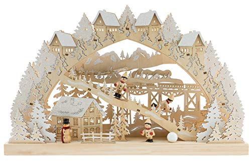 Clever Creations Traditional Wooden Table Top Christmas Decorations | Unique Skiing Hill with Battery Operated Christmas Lights | Festive Christmas Decor | Village, Skier Kids, Snowman, and Houses by Clever Creations