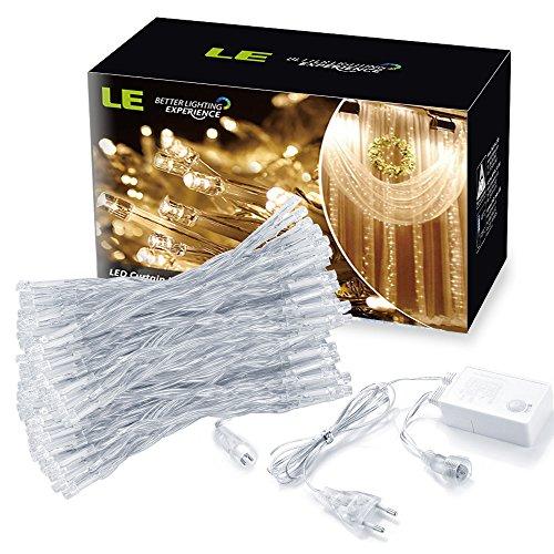 LE Lichterkettenvorhang 304 LEDs dimmbar, 8 Modi 3m x 3m, erweiterbar, warmweiß, 3000 Kelvin, Sternen LED Lichterketten für Weihnachten / Deko / Party, Weihnachtsbeleuchtung, Hochzeit usw.