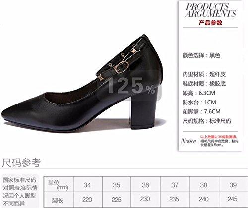 Haut Gros Chaussure Talon Femme Rivet 7Cm Pointue Tête Seule des Printemps Talon De Chaussures Perceuse black HBDLH wI4Wfdqq