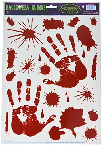 Beistle Bloody Handprint Clings, 12-Inch by 17-Inch Sheet (01035) -