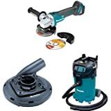 Makita XAG04Z 18V LXT Brushless Cordless 4 1/2 Inch 5 Inch Cut Off/Angle Grinder (Tool Only), 195236 5 Surface Grinding Shroud, VC4710 12 Gallon Xtract Vac Wet/Dry Dust Extractor/Vacuum