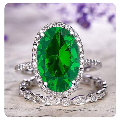 (RUDRAFASHION 2.10 Ctw Oval Cut Created Emerald & White Diamond 14k White Gold Over .925 Sterling Silver Engagement Halo Bridal Ring Set for Women's)