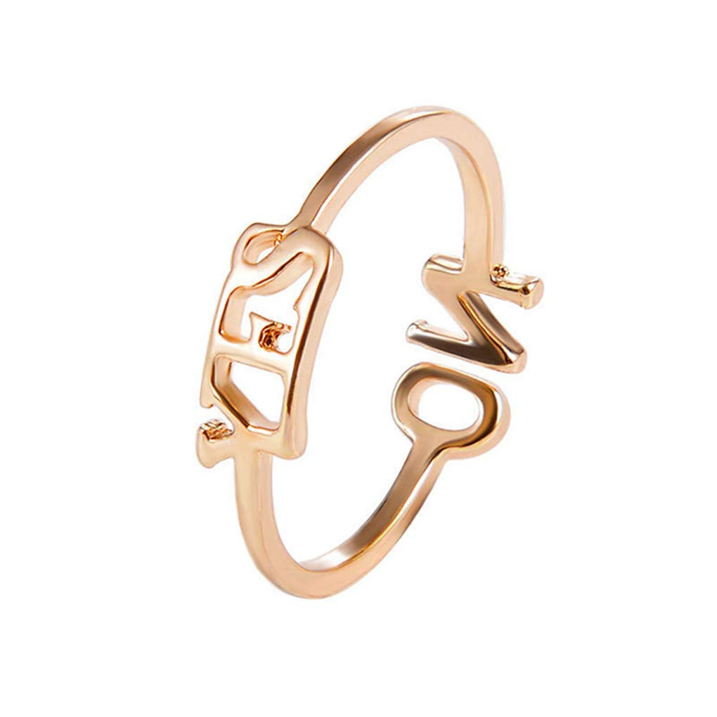 Meolin Simple YES NO English Letter Ring Adjustment Open Ring Female Jewelry Accessories for Christmas Birthday Present,Gold