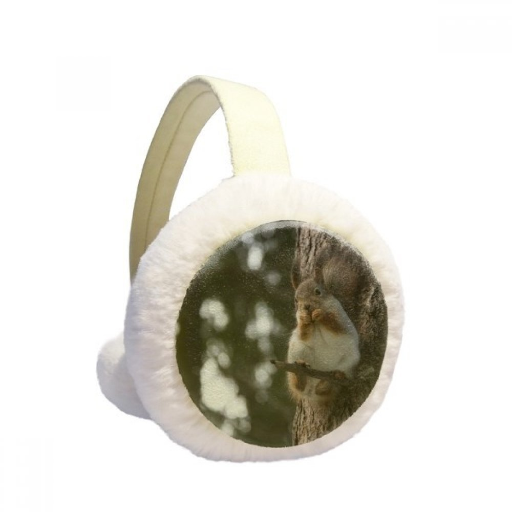 Cute Squirrel Forestry Science Nature Scenery Winter Earmuffs Ear Warmers Faux Fur Foldable Plush Outdoor Gift