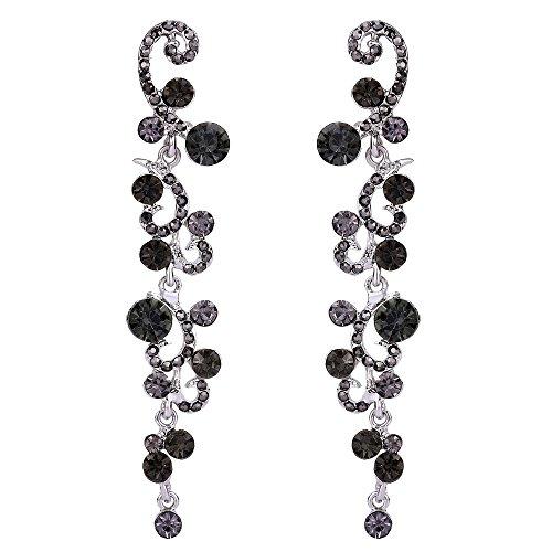 EVER FAITH Austrian Crystal Bridal Flower Vine Wave Dangle Earrings Black Silver-Tone