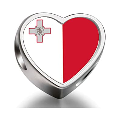 714406999 925 Sterling Silver Charms Beads Malta flag Heart Photo Charm Beads Fit  Pandora Chamilia Biagi beads Charms Bracelet: Amazon.co.uk: Jewellery
