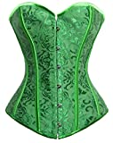 Kimring Women's Vintage Palace Jacquard Sweetheart Body Shaper Strapless Overbust Corset Green X-Large