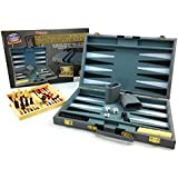 "Matty's Toy Stop Deluxe 15"" Backgammon Briefcase (Vinyl Gray Attache) with 3-in-1 Chess, Checkers & Backgammon Wooden Travel Games Set (8"")"