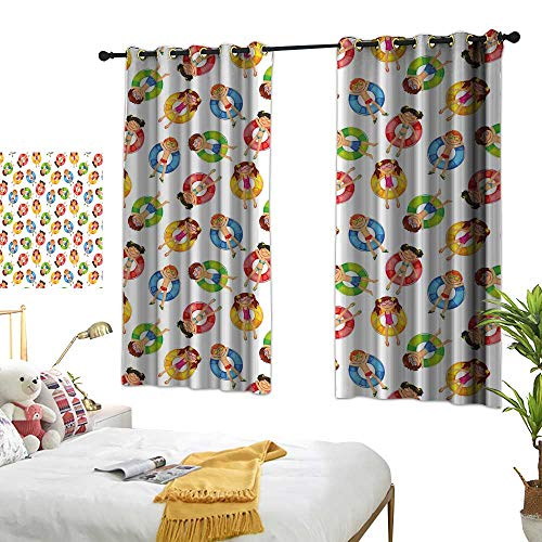 RuppertTextile Kids Insulated Sunshade Curtain Children in The Pool on Life Buoys Swimming Summer Season Themed Cartoon Characters 63