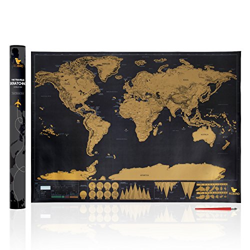 Robird Premium Quality World Traveler Map - Large Black & Gold Edition World Map Poster 32.5 inches X 23.4 inches - Perfect Gift For Any Traveller (Large Detailed World Map Poster compare prices)