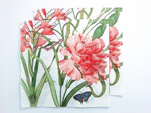 20 pcs Vintage Paper Napkins Decoupage Pink Rose Flowers Party Luncheon Serviettes 2-Ply 13