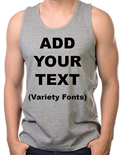 Custom Tank Tops for Men Ultra Soft t Shirts Add Your Own Text Message [HeatherGray/XL]