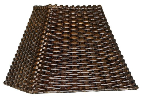 Wicker Square Lamp Shade 4.75x11x8 (Spider) (Brown Lamp Shades)