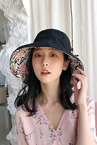 Black Women Girls Summer hat Cap Covering her face Unique Dual vanities Large Brimmed Folding Sun Exquisite