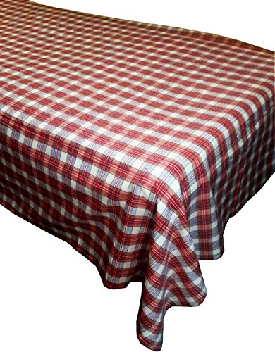 Felted Merino Wool Jacket (KVR Cotton Vintage madras plaid check Pattern woven rectangle table cloth cover Dinner Picnic Home Decoration Washable (56X104 inch, Red plaid))