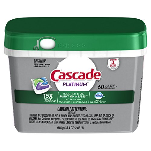 Cascade Platinum ActionPacs Dishwasher Detergent, Fresh Scent, 60 count - packaging may vary