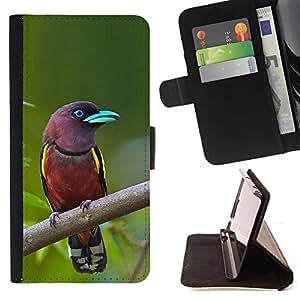 BullDog Case - FOR/HTC DESIRE 816 / - / Madagascar tropical bird green ornithology /- Monedero de cuero de la PU Llevar cubierta de la caja con el ID Credit Card Slots Flip funda de cuer