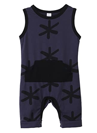 c7e8fed6f Amazon.com: Canis Baby Boys Summer Sleeveless Printing Cotton Romper  Jumpsuit: Clothing