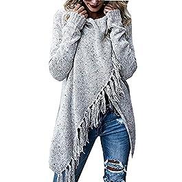 Doris Women's Speckled Shawl Fringe Cardigan Knited Tassels Slash Sweater Coat Outwear