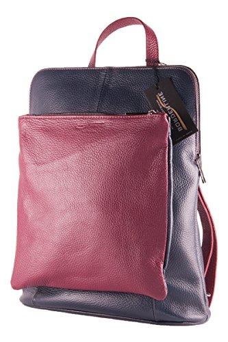 BORDERLINE - 100% Made in Italy - Bolsa-mochila de las mujeres en piel �?BEATRICE Noche Azul/Bordeaux