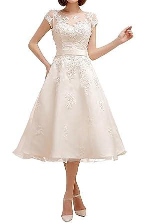 Yasiou Hochzeitskleid Standesamt Damen A Linie Kurz Tull Spitze Weiss
