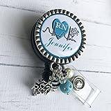 Personalized RN Nurse ID Badge Reel, Blue Nurse Gift, LPN BSN Custom RN Retractable ID holder, Nurse Name