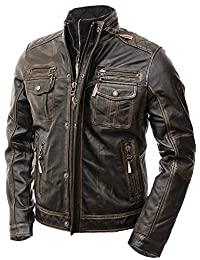 The Custom Jacket Men's Motorcycle Distressed Brown Cafe Racer Real Leather Jacket