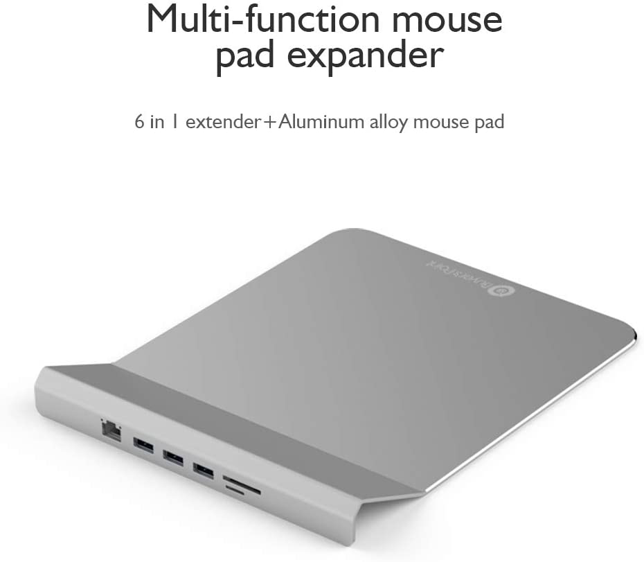 Sliver Buyer/'s Point USB Hub Mouse Pad Expander Portable RJ45 Multifunctional Aluminum Alloy Non-Slip 5 Pack