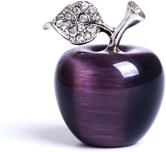 HongJinTian Natural Purple Tigereye Crystal &Gemstone Carved Apple Figurine Statue Handcarved Crystal Apple Ornament AVG.1.18Inch