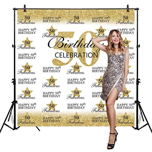 Allenjoy 6x6ft Happy 50th Birthday Backdrop for Fabulous Party Fifty Years Old Adult Women Prom Banner Decoration Supplies Hollywood Step and Repeat Gold Glitter Photography Background Photo Booth ()
