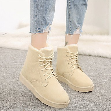 Casual Beige CN38 Fashion Heel Shoes UK5 Gray Up 5 US7 Flat RTRY Fluff Lace Winter Lining EU38 Fabric Boots Black Women'S Outdoor Boots Boots Snow Comfort For 5 xTRTwOz5n