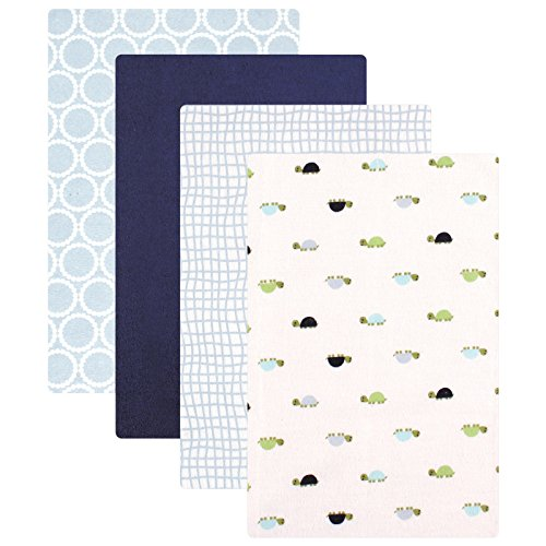 Luvable Friends Flannel 4 Piece Receiving Blankets, Turtles (Turtle Boy Baby)