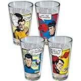 Star Trek Set of 4 16oz Glass Tumblers: Featuring Captain Kirk, Spock, McCoy, and Scotty