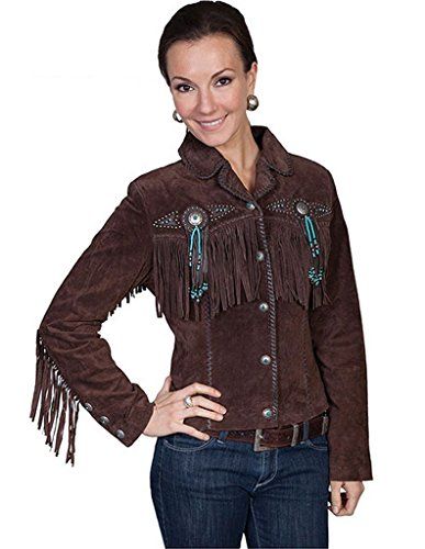 Boar Suede Jacket (Scully Women's Fringe and Beaded Boar Suede Leather Jacket Chocolate Large)
