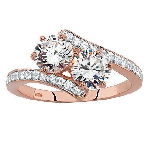 - Rose Gold-plated Sterling Silver Round Cubic Zirconia 2-Stone Bypass Ring Size 8