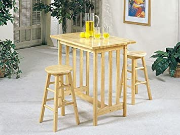 separation shoes a132c 6a503 3pc Mission Style Wood Breakfast Bar Table & 2 Stools Set