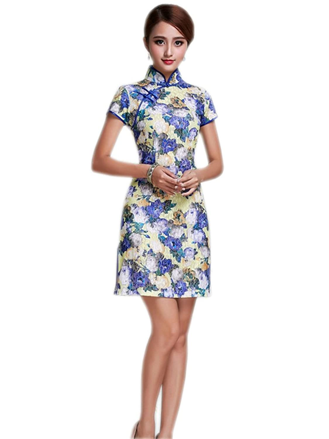 YL Women's Lace Purple Flowers Printed Chinese Qipao Dress