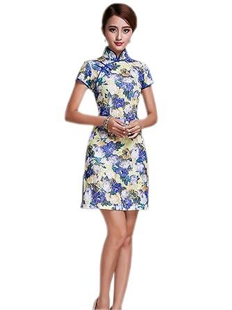 Amazon.com: yuelian de la mujer vestido de Cheongsam corta ...