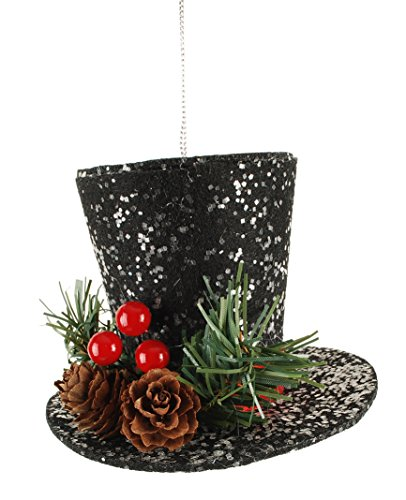 Snowman Top Hat with Holly Berry 4 x 4 inch Christmas Ornament Figurine (Black Top Hat For Snowman)