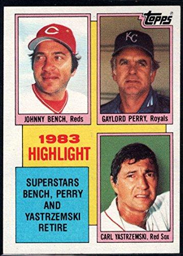 Carl Yastrzemski Baseball Cards - Baseball MLB 1984 Topps #6 Johnny Bench/Gaylord Perry/Carl Yastrzemski HL