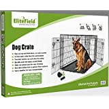 EliteField 2-Door Folding Dog Crate with Rubber Feet, 48 X 30 X 32 Inches