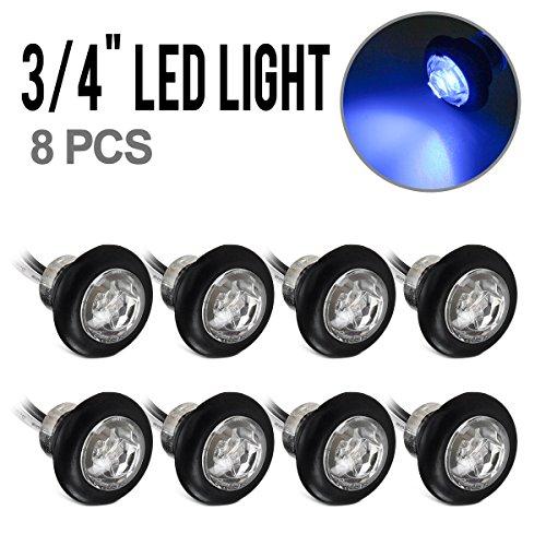 "Partsam 8x Hot Sale 3/4"" Dwarf Bullet Side Marker & Clearance Light Blue Clear Lens w/ Plug"