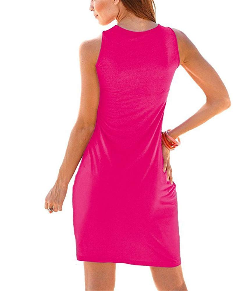 New Solid color Dress Large Size Round Neck Vest Skirt Sleeveless Holiday Dress,Pink,XXL