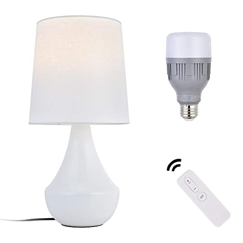 Ankee Smart Ceramic Table Lamp with WiFi Smart LED Light Bulb, nightstand Lamp Compatible with Alexa and Google Assistant, Ceramic Desk Lamps for Living Room