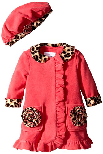 Leopard Trim Hat (Bonnie Baby Baby-Girls Infant Side Ruffle with Leopard Trim Fleece Coat and Hat Set, Coral, 12)