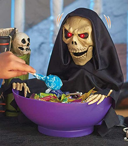 Reaper Animatronic Snapping Sam Candy Treats Bowl Halloween Haunted House Decor Motion Activated Moving Head Creepy Glowing Red Eyes Scary Sayings & Talking Words ()