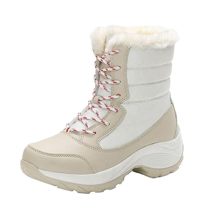 Botas,ZARLLE Botas de Nieve para Mujer totalmente alineada botas piel impermeable de la nieve del invierno Zapatillas de deporte de mujeres zapatos de ...